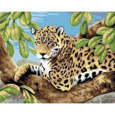 Живопись по номерам Леопард в лесу, 30x40, Белоснежка