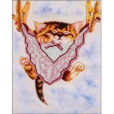 Вышивка бисером на габардине Спящий котенок, 20x25, Астрея
