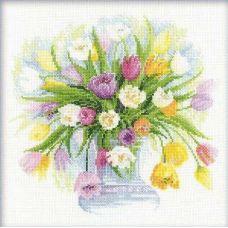 Вышивка крестиком Акварельные тюльпаны, 30x30, Риолис