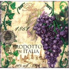 Вышивка бисером на габардине Синий виноград, 30x30, Астрея