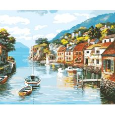 Раскраска Лодочки на море, 40x50, Белоснежка