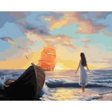 Картина по номерам Алые паруса, 40x50, Белоснежка