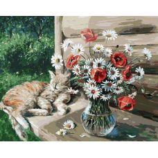 Живопись по номерам Дачная жизнь кота Василия, 40x50, Белоснежка