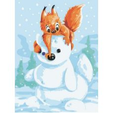 Картина по номерам Белка и снеговик, 30x40, Белоснежка