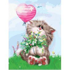 Живопись по номерам на картоне Кот с букетом Андрея Долотова, 30x40, Белоснежка