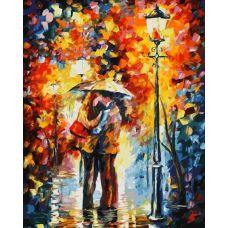 Живопись по номерам Поцелуй под дождём, Л. Афремов, 40x50, Белоснежка