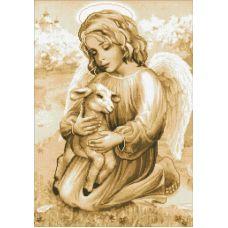 Вышивка стразами Ангелочек с ягненком, полная выкладка, 42х60, Паутинка