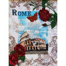 Вышивка бисером на габардине Вокруг света - Рим, 40x32, Астрея