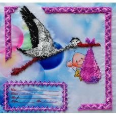 Вышивка бисером на шелке Метрика для девочки, 23x23, FeDi