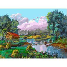 Живопись по номерам Стога у реки, 30x40, Белоснежка