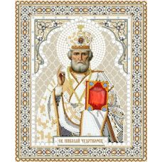 Ткань для вышивания бисером Святой Николай Чудотворец, 20x25, Конек