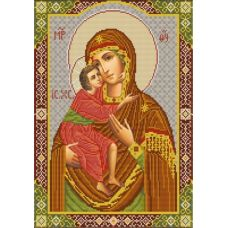 Ткань для вышивания бисером Богородица Феодоровская, 29х39, Конек