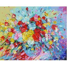 Живопись по номерам Фейерверк из роз, 40x50, Белоснежка