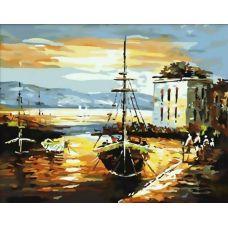 Живопись по номерам Рыбацкий баркас, 40x50, Белоснежка