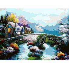 Живопись на холсте Старинный мост, 30x40, Белоснежка