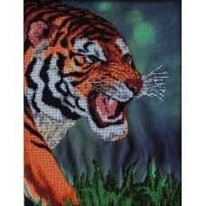 Вышивка бисером на шелке Тигр, 30x37, FeDi
