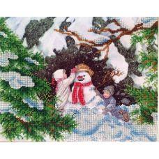Вышивка бисером на шелке Зимние забавы, 26x32, FeDi