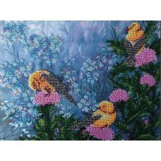 Вышивка бисером на шелке Птички, 29x39, FeDi