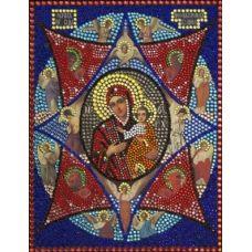 Вышивка термостразами Богородица Неопалимая Купина, Преобрана