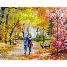 Живопись по номерам Осенний парк, скамейка, двое, 40x50, Белоснежка