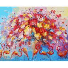 Живопись по номерам Танец красного фламинго, 40x50, Белоснежка