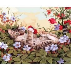 Живопись на холсте Кошкины забавы, 30x40, Белоснежка