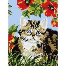 Котенок в цветах, Живопись на холсте, 30x40