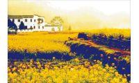 Алмазная мозаика Желтый пейзаж, 64x45, полная выкладка, JING CAI GE