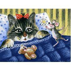 Живопись на холсте Кот и мышка, 30x40, Белоснежка