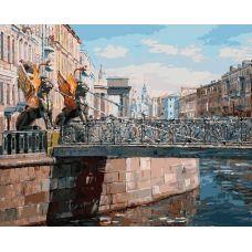 Живопись по номерам Грифоны банковского моста, Санкт-Петербург, 40x50, Белоснежка