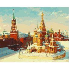 Картина по номерам Васильевский спуск, репродукция «Кремль зимой» Михаила Бровкина, 40x50, Белоснежка