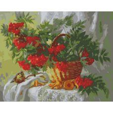 Живопись по номерам Ветки рябины, 40x50, Белоснежка