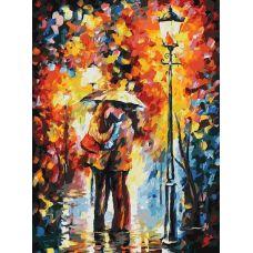 Живопись по номерам на картоне Поцелуй под дождем, Афремов Л., 30x40, Белоснежка