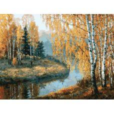 Живопись по номерам на картоне Вот и осень пришла Игоря Разживина, 30x40, Белоснежка