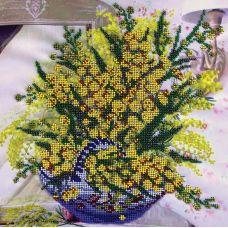 Вышивка бисером на шелке Мимоза, 30x30, FeDi