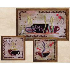 Вышивка бисером на шелке Триптих кофейный аромат, 1-15x27; и 2-15x15, FeDi