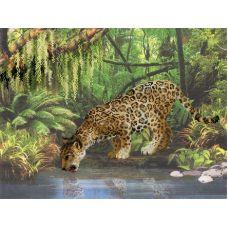 Набор для вышивания Леопард у воды, частичная вышивка, 40x30, Риолис, Сотвори сама