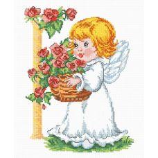 Набор для вышивания Ангелочек с корзиной роз, 19x25, Овен