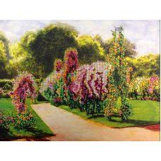 Вышивка бисером на шелке Французский парк, 31x38, FeDi