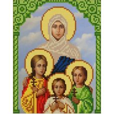 Ткань для вышивания бисером Святые Вера, Надежда, Любовь и София, 15х18, Конек