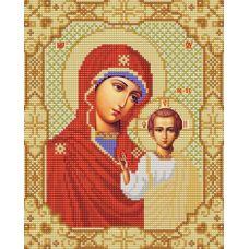 Ткань для вышивания бисером Казанская Богородица, 20х25, Конек