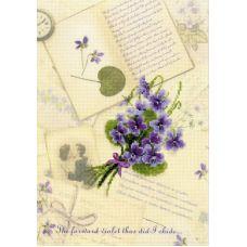 Набор для вышивания Письмо о любви. Фиалки, частичная вышивка, 21x30, Риолис, Сотвори сама