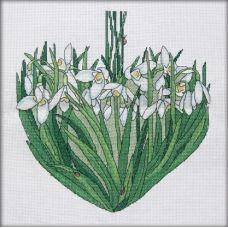 Вышивка крестиком Подснежники сердце. Март, 24х25, Астрея (Фрея)