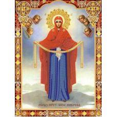 Ткань для вышивания бисером Богородица Покрова, 29x39, Конек