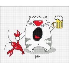 Набор для вышивания Кошачий гороскоп. Рак, 16x12, Овен