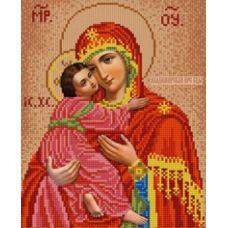 Ткань для вышивания бисером Владимирская Богородица, 20х25, Конек