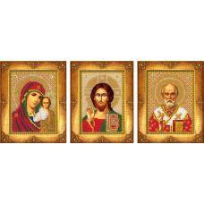 Вышивка бисером Три малые иконы, 1шт. 13x8,8; 2шт 13x9,7, Русская искусница