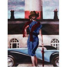 Вышивка бисером на габардине Бизнес леди, 30x40, Астрея