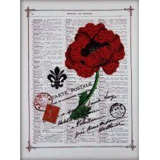 Вышивка бисером на габардине Красный мак, 30x40, Астрея