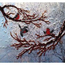 Вышивка бисером на шелке Снегири, 28x30, FeDi
